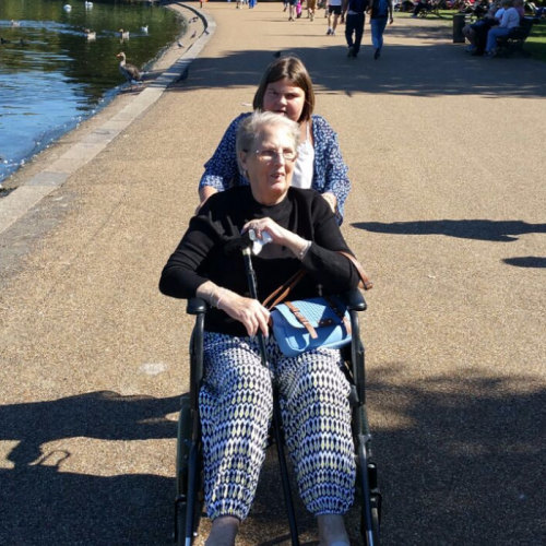 Amy is 8 years old and has Global Development Delay.  Although she has her own daily struggles she always has a smile on her face and is so caring and helpful to others.  This is her pushing my mums wheelchair round Hyde Park on a day out.  Amy lives in welwyn, Hertfordshire.