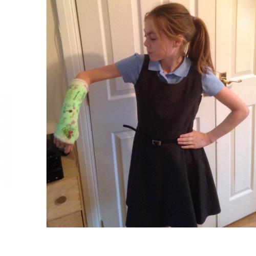 Broken arm. Lauren Cobey age 9 Cambridgeshire  Lauren has broken her arm and had had to learn to write left handed she had been very brave and hasn't made a fuss.