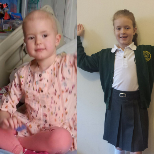 This is Emily, she is 7 years old. Shortly after her 4th birthday our world fell apart when she was diagnosed with Acute Lymphoblastic Leukaemia. She has endured over 2 years of chemotherapy, lost her hair, had a Hickman line, missed lots of school, spent countless days/nights at hospital, been through numerous theatre visits, she's missed out on so much. She is now one year off treatment and doing amazingly well.    Emily loves reading and used to think that she was actually, secretly Matilda. Now, she juat wants to be a writer (or possibly a nurse....or teacher...whatever she wants!) when she grows up.    To mark her end of treatment the charity Maddi's Butterflies granted her a wish to go to London to see Matilda. the most amazing day, memory making at its very best!!  Emily is a wonderful big sister to Abigail, who was a week old when Emily was diagnosed. She is a bright, clever, funny, daft, caring little girl. In fact, while she has been on treatment she has completed fun runs to help raise money for the hospital where she is being treated. She amazes me every day. A true hero. Xxx