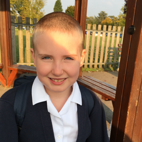 This is Katy, she is 10 and we live in Yateley, Hampshire.   Last year Katy decided she wanted to shave her head to raise money for charity.  So she did! Katy raised over £2100 for Cancer Research Kids & Teens!  I'm so proud of my daughter, we told her that   people might look at her differently but she didn't care, she's been called a boy and even got stopped from using girls toilets, she just didn't  care!  I love her courage and strength to stand up and be counted regardless of what others thing ok her.