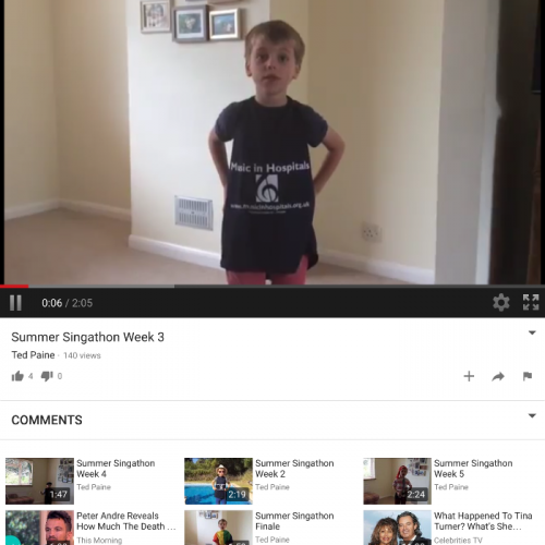 Ted, aged 6 who lives in Surrey did a Summer Singathon to raise money for Music in Hospitals. In his words